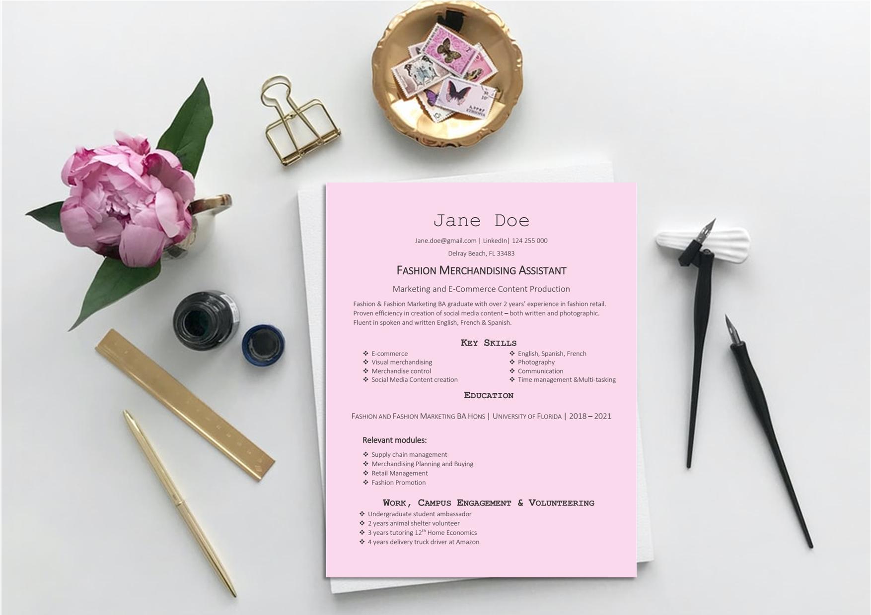 Fashion Merchandising Resume Template