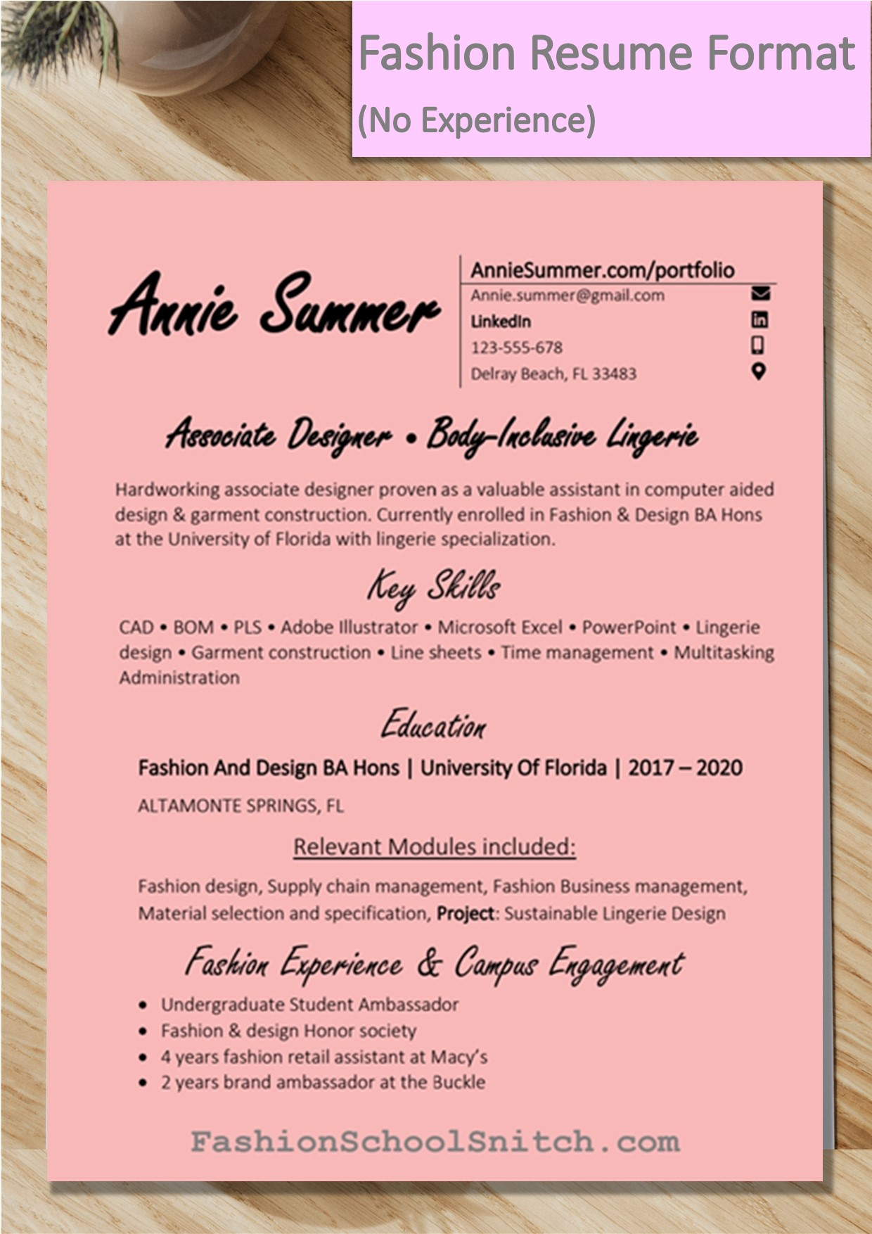 Sample: Fashion Designer resume format when you have relevant experience