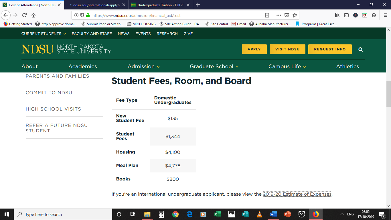 NDSU Fees, Housing, Meal Plan & Books