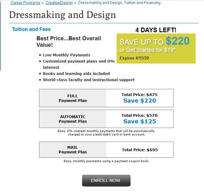 Penn Foster Career School Dressmaking and Design Online Fees