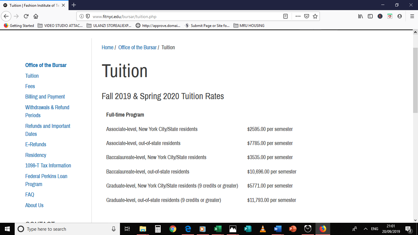 Tuition FIT as published in 2019