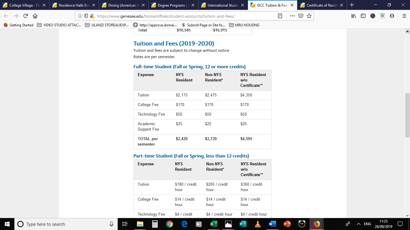 Genesee CC Tuition as published in 2019