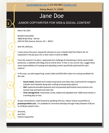 Fashion Cover Letter Structure
