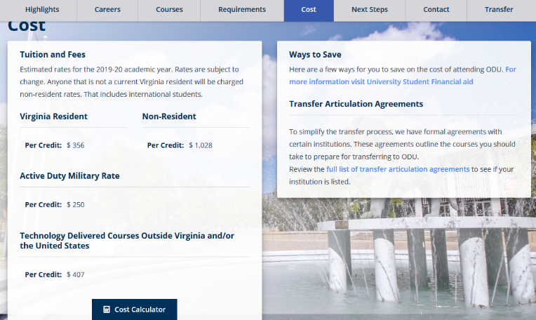 Old Dominion University Online Fees