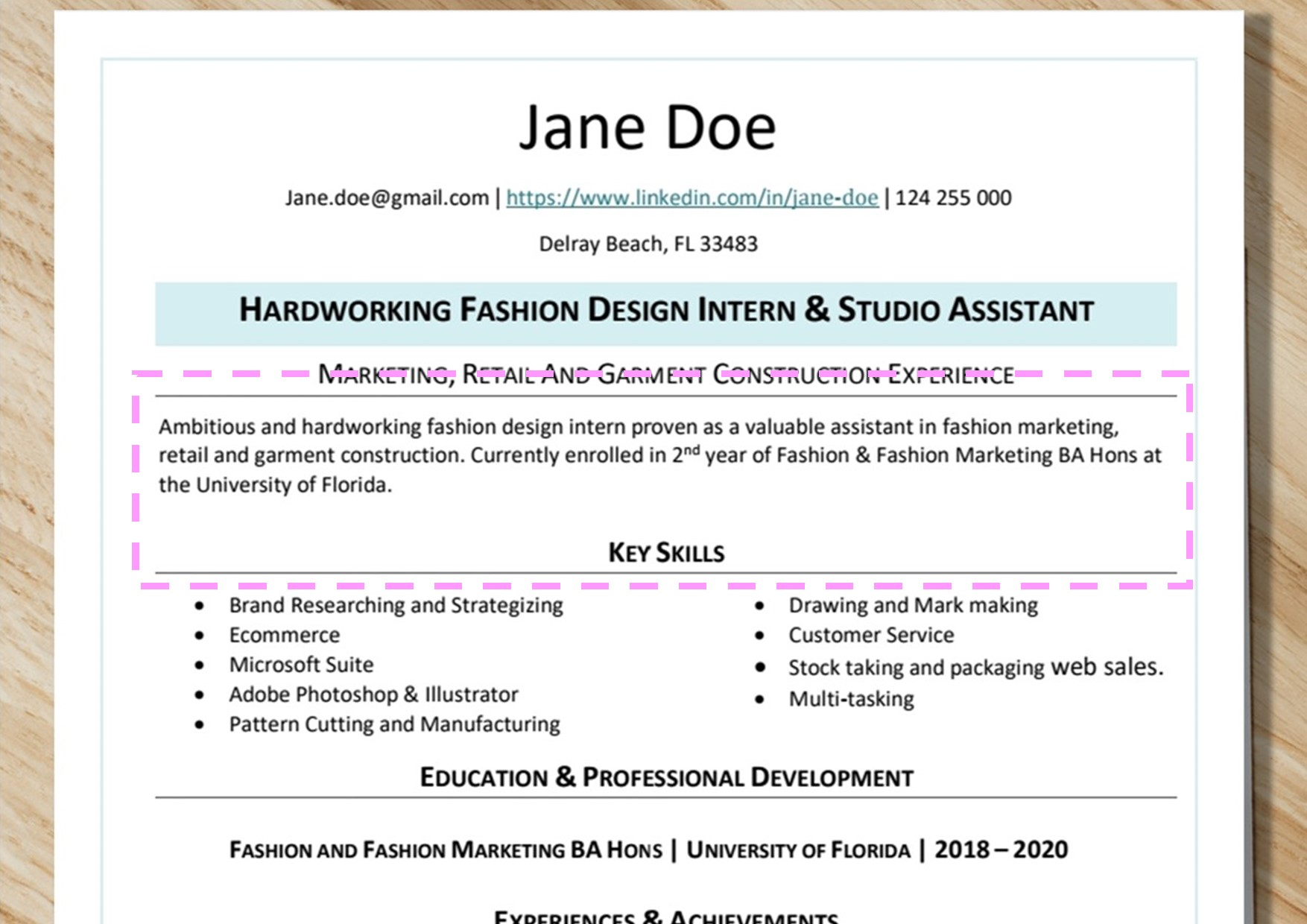 Summary  Highlighted In Pink- Fashion Resume Examples